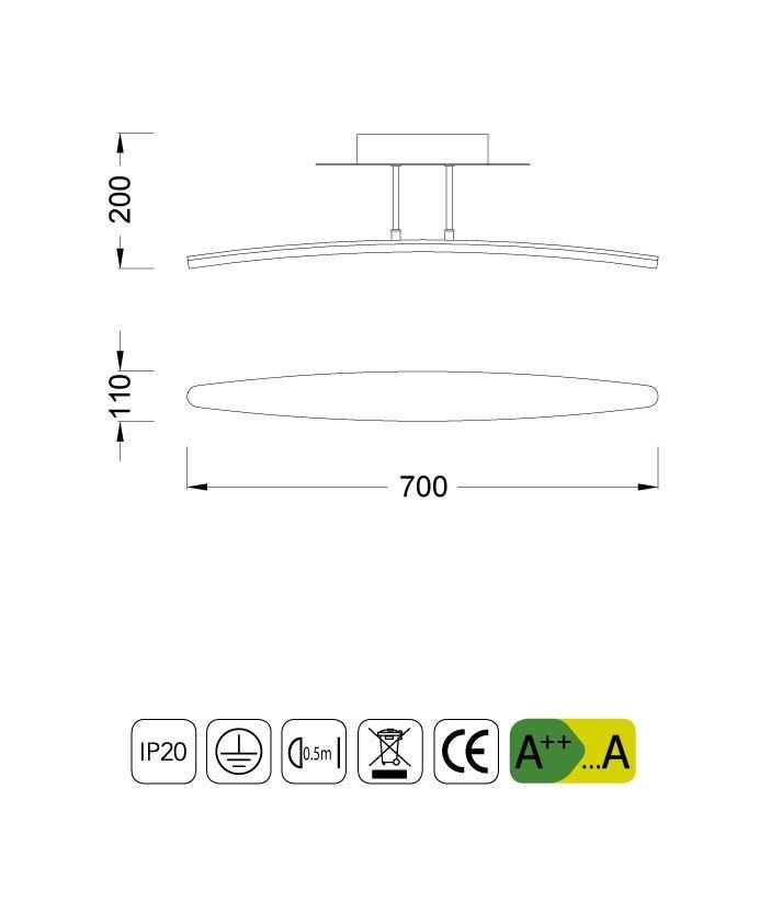 Medidas plafón HEMISFERIC aluminio