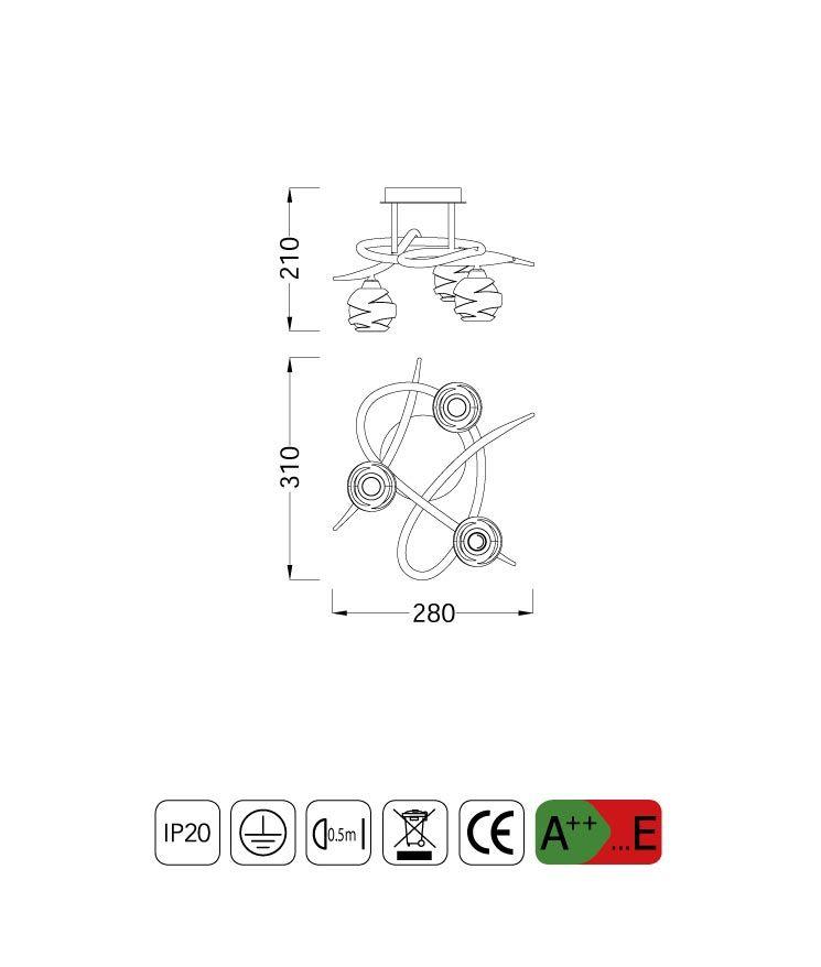 Medidas plafón pequeño LOOP 3 luces