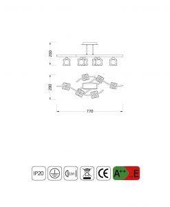 Medidas plafón mediano CUADRAX 6 luces