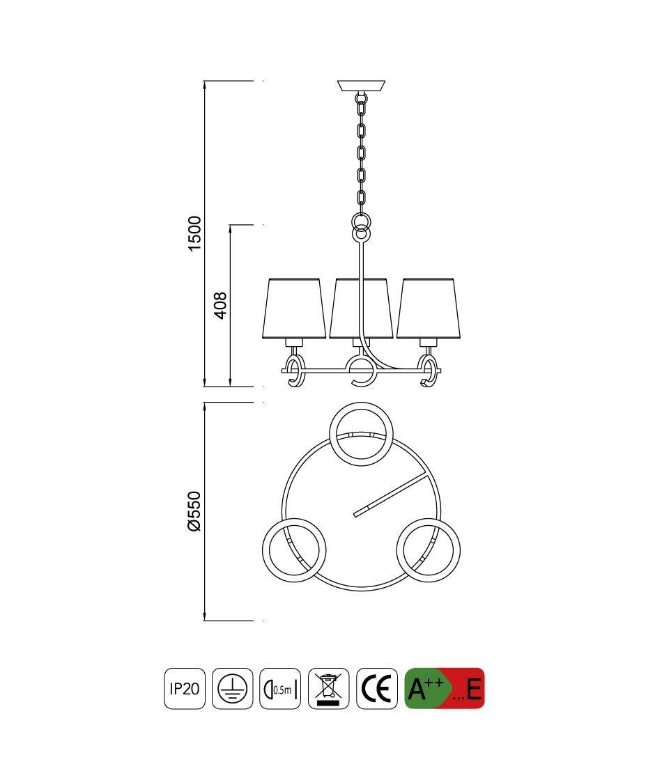 Medidas lámpara de techo 3 luces ARGI circular