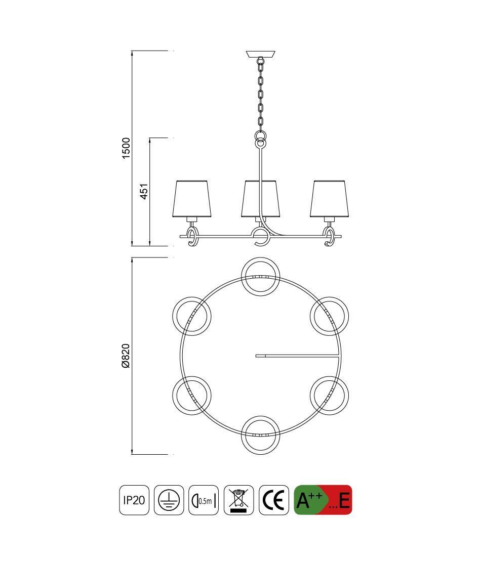 Medidas lámpara de techo 6 luces ARGI circular