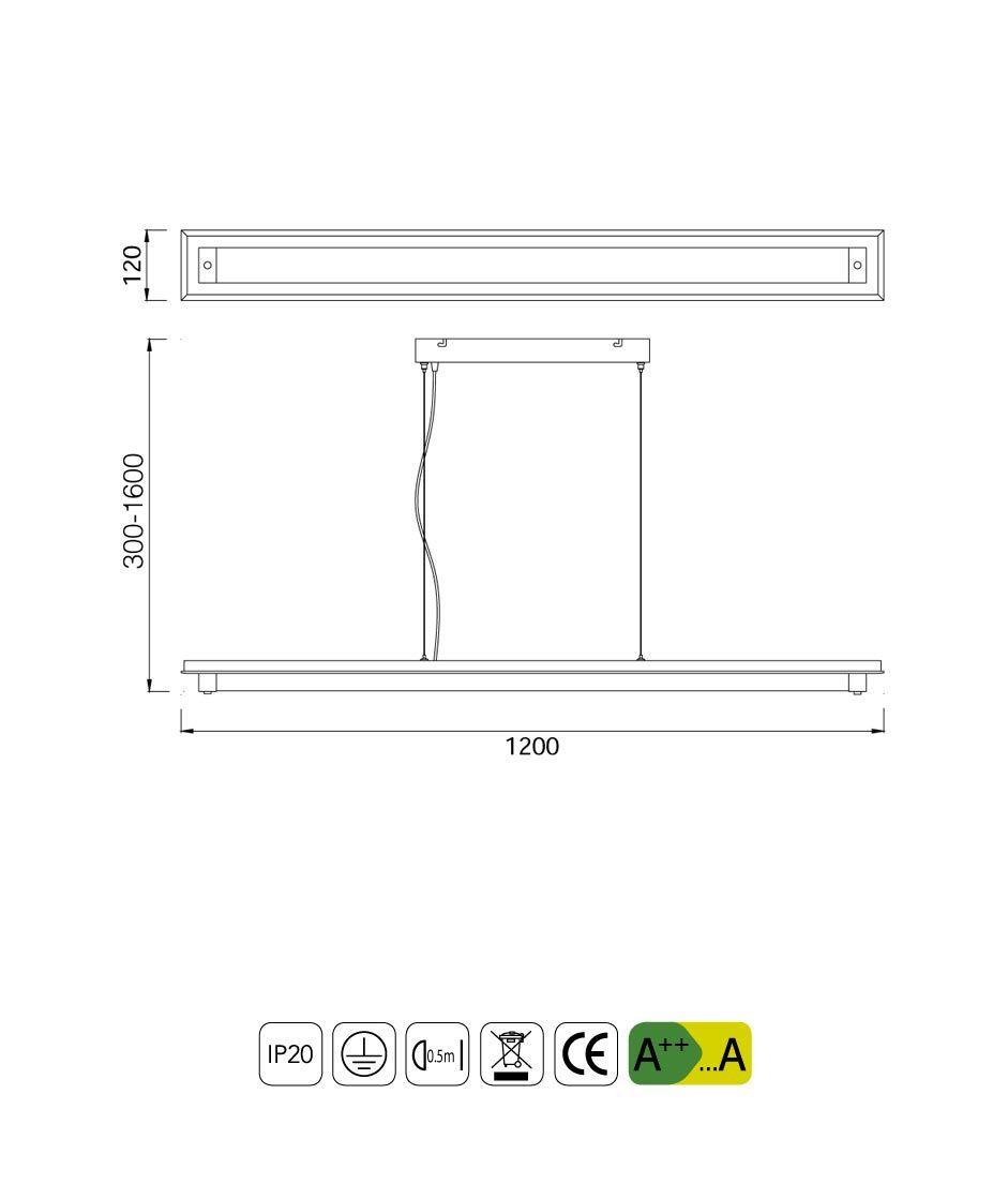 Medidas lámpara colgante LED grande TUBE cromo cristal