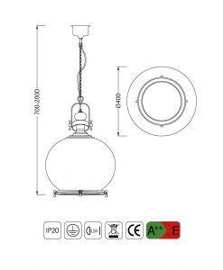 Medidas lámpara colgante circular grande VINTAGE cristal/cuero
