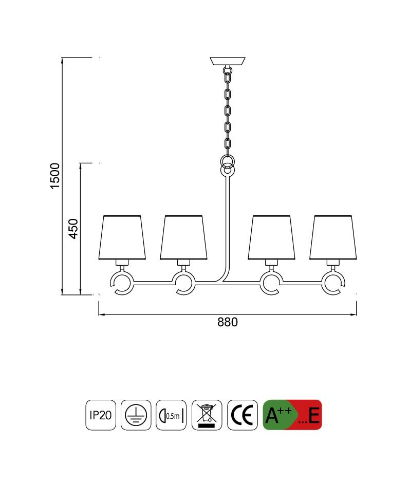 Medidas lámpara de techo 4 luces ARGI línea