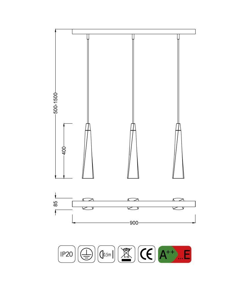 Medidas lámpara colgante lineal GHERY cemento 3 luces