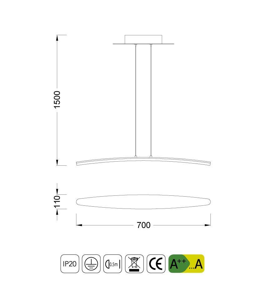 Medidas lámpara pequeña HEMISFERIC aluminio