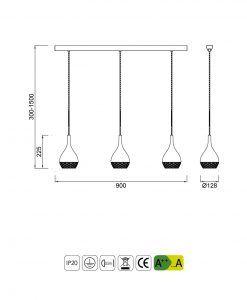 Medidas Lámpara de techo línea KHALIFA 3 luces