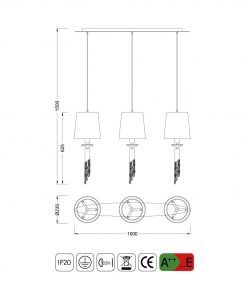Medidas colgante lineal TIFFANY 3+3 luces
