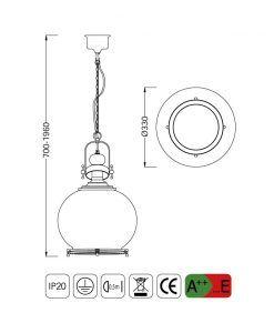 Medidas lámpara colgante circular mediana VINTAGE cristal/cuero