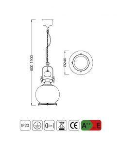 Medidas lámpara colgante circular pequeña VINTAGE cristal/cuero