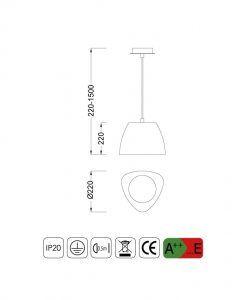 Medidas lámpara colgante pequeña TRIANGLE