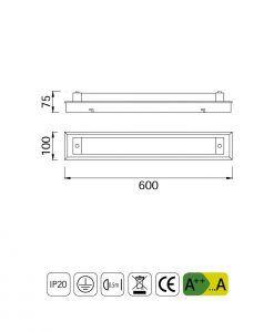 Medidas aplique plafón LED grande TUBE cromo cristal