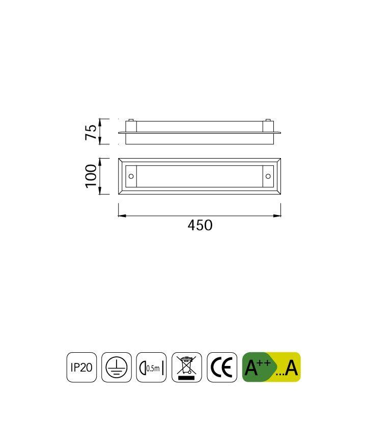 Medidas aplique plafón LED mediano TUBE cromo cristal