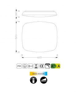 Medidas plafón LED regulable QUATRO 60 cm luz cálida/fría