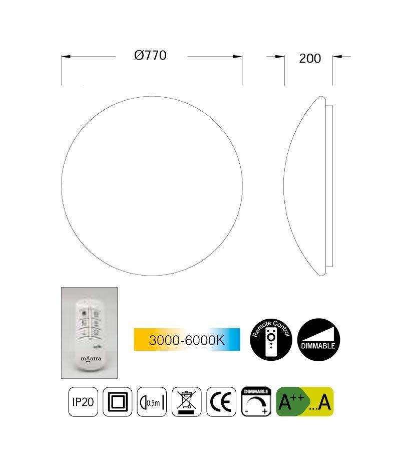 Medidas plafón LED regulable ZERO 77 cm luz cálida/fría