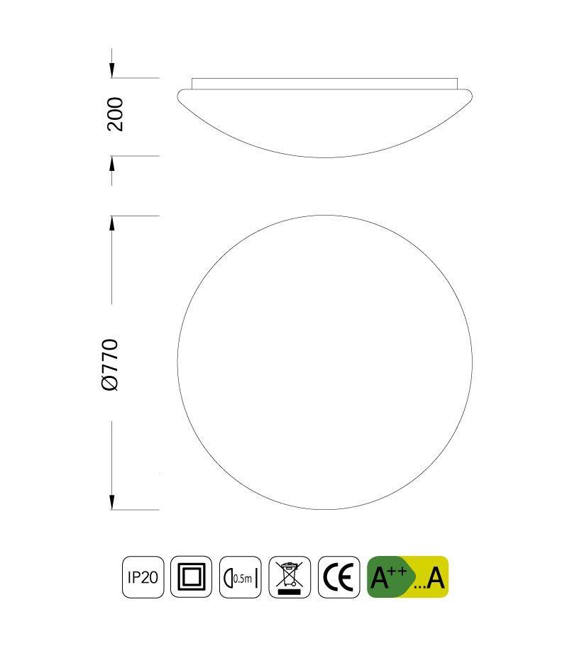 Medidas plafón LED ZERO 77 cm