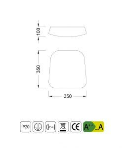 Medidas plafón LED mediano QUATRO