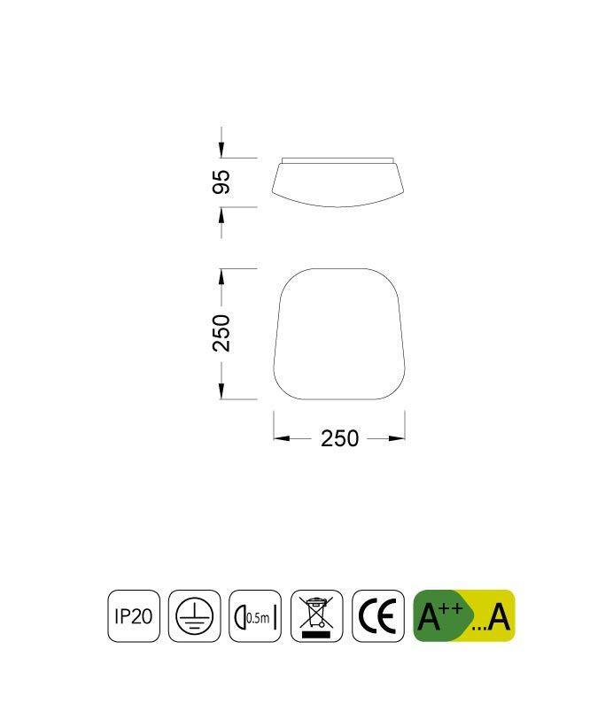 Medidas plafón LED pequeño QUATRO