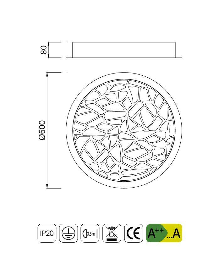 Medidas plafón LED redondo PETACA blanco