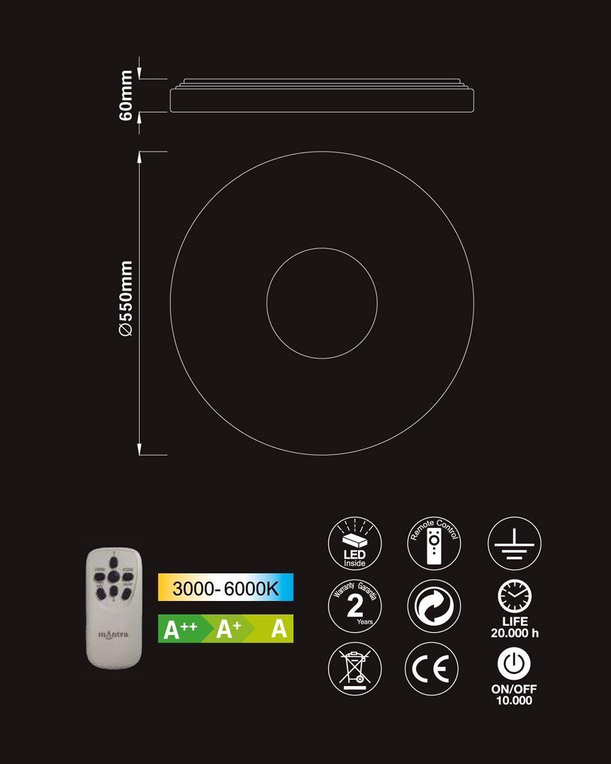 Medidas plafón LED con mando a distancia REEF