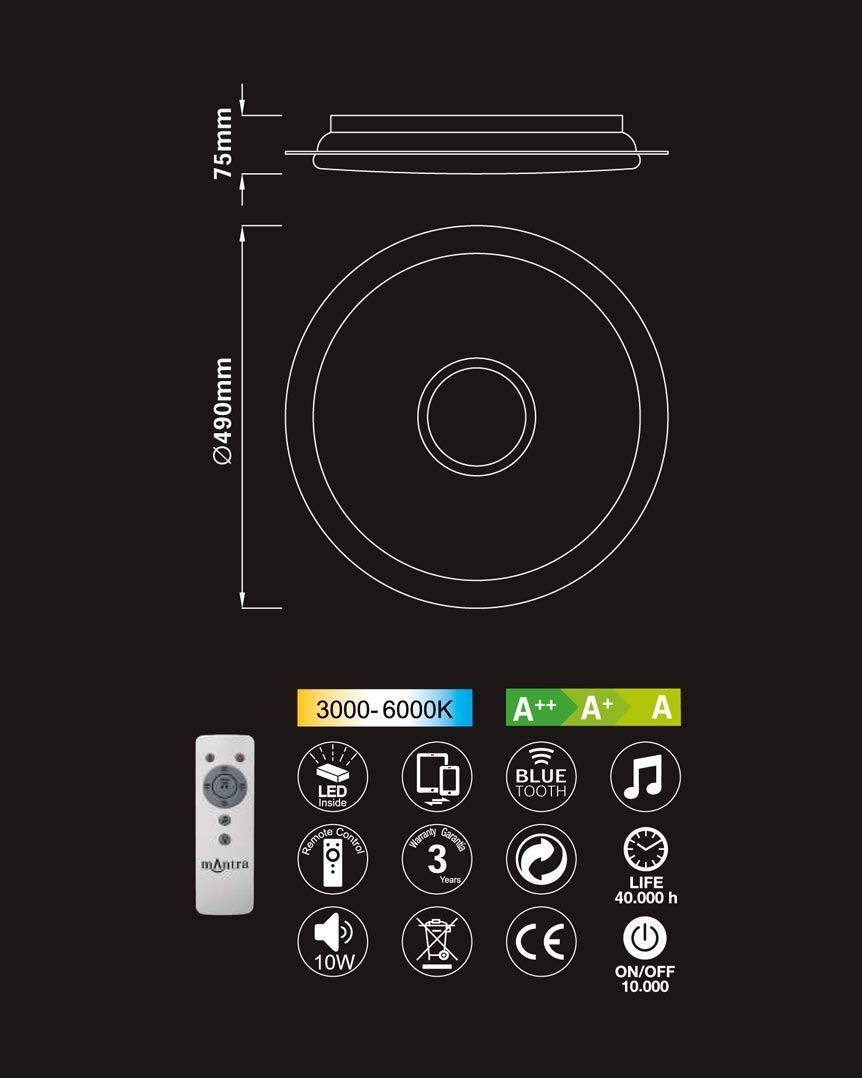 Medidas plafón LED con altavoz SPEAKER