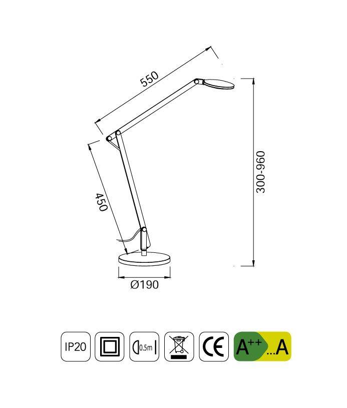 Medidas flexo LED articulado NATALIA