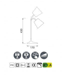 Medidas lámpara de mesa LED READING blanco