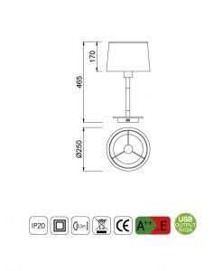 Medidas sobremesa con USB NORDICA II