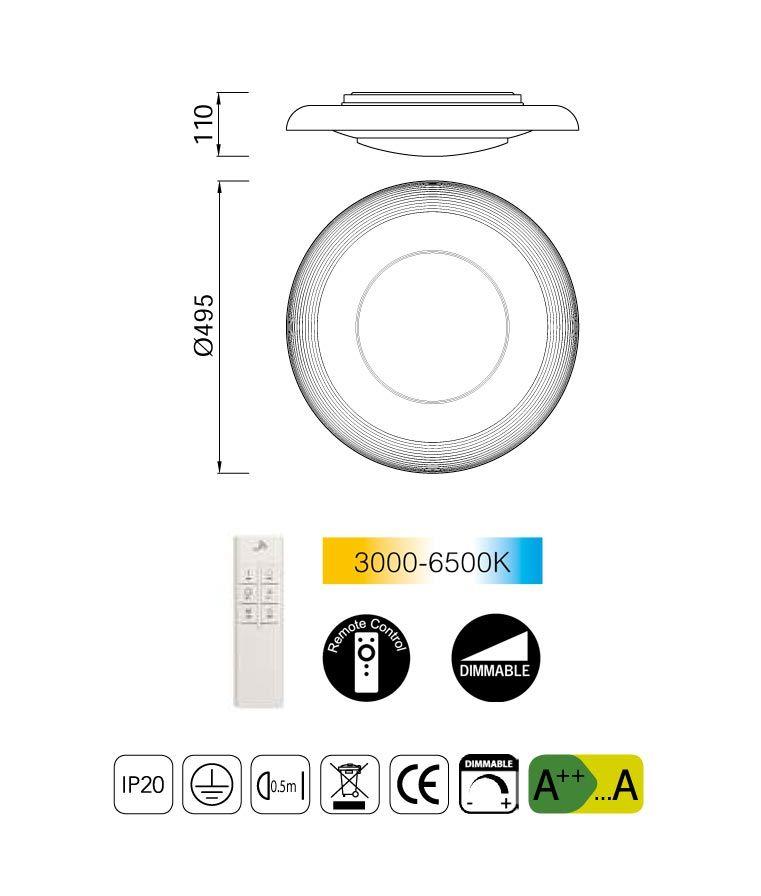 Medidas plafón blanco con mando a distancia ARI LED