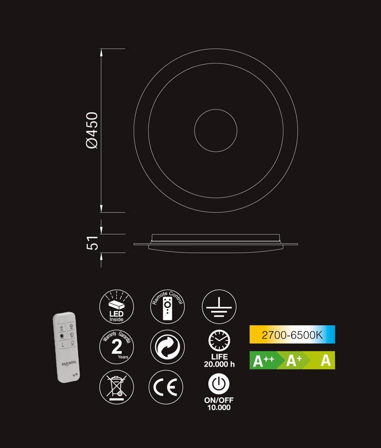 Medidas y características plafón con mando VIRGIN LED