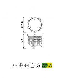 Medidas plafón cristal circular KAWAI LED - La Casa de la Lámpara