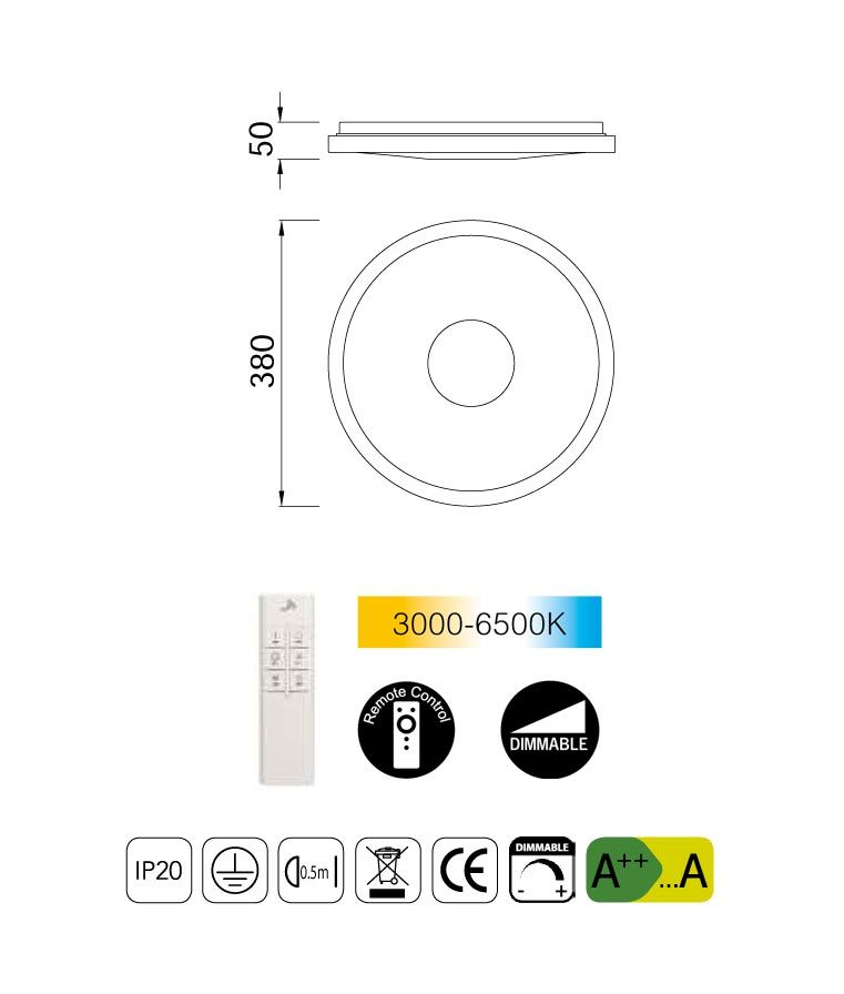 Medidas plafón cromo con mando CENTARA LED