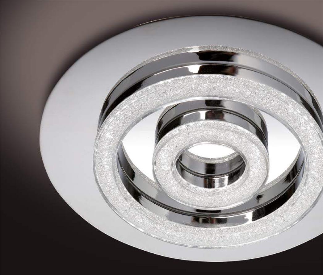 Plafón cromo cristal diamante SATURNO LED detalle