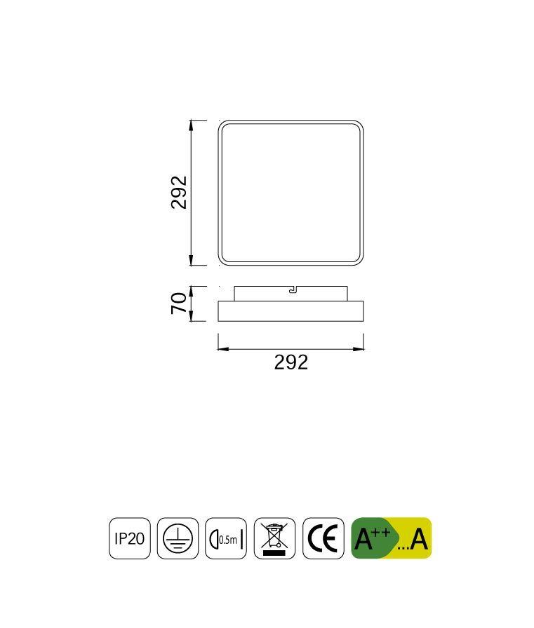 Medidas plafón cuadrado 18W REFLEX LED