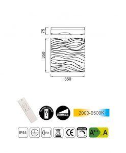 Medidas plafón cuadrado 35 cm exterior ARENA LED