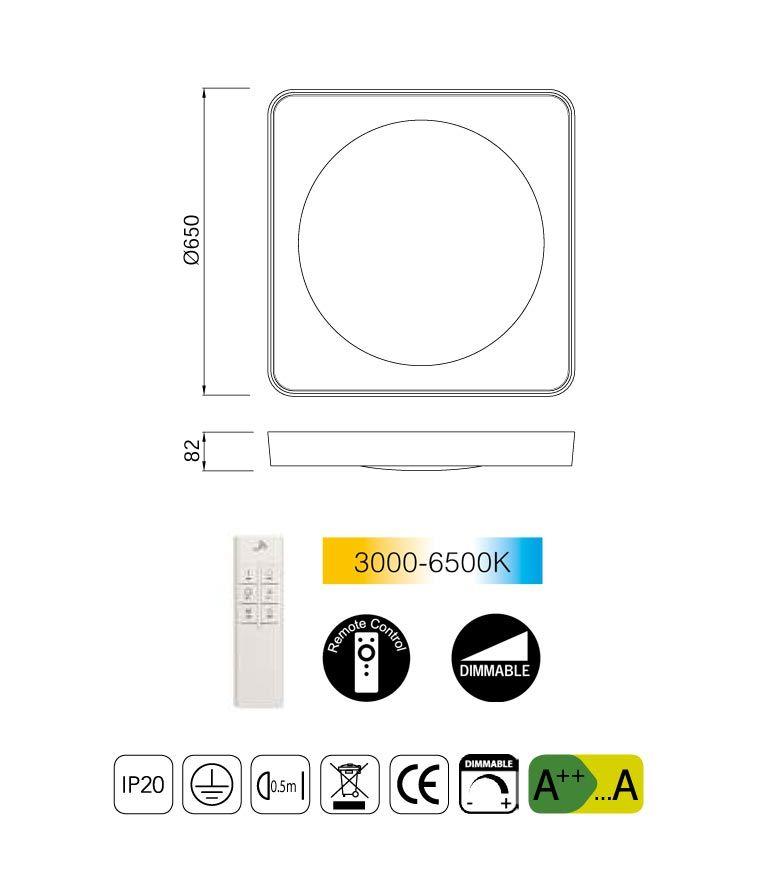 Medidas plafón cuadrado grande con mando MALE LED