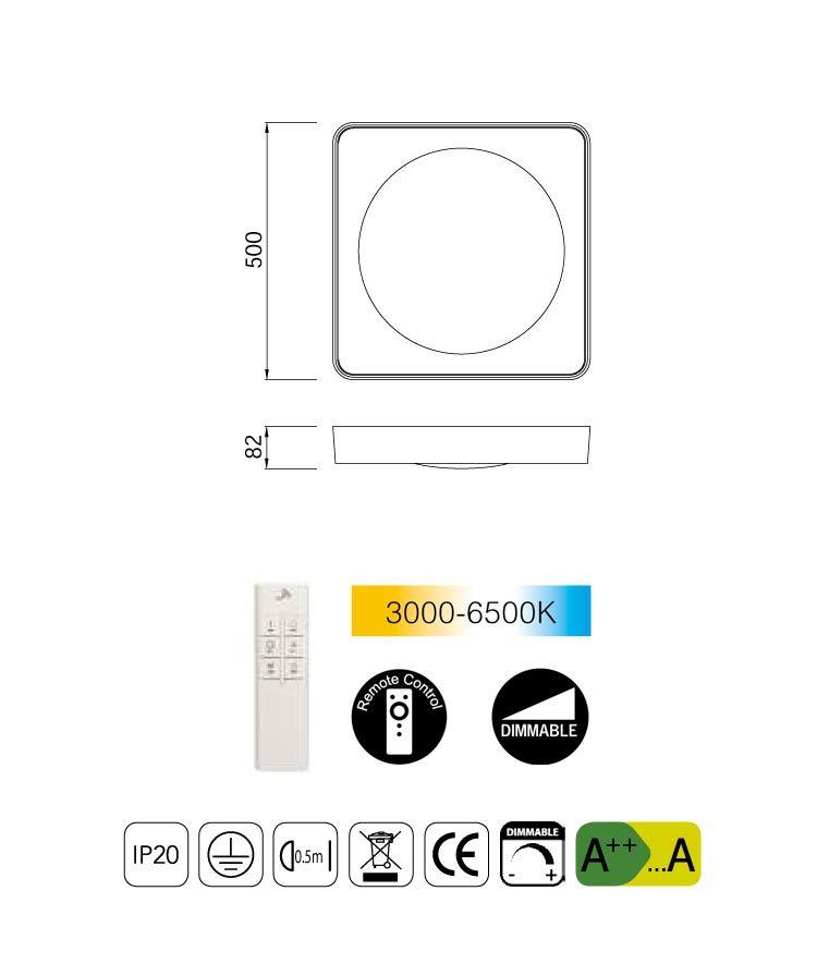 Medidas plafón cuadrado mediano con mando MALE LED