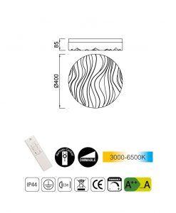 Medidas plafón dimable exterior ARENA LED