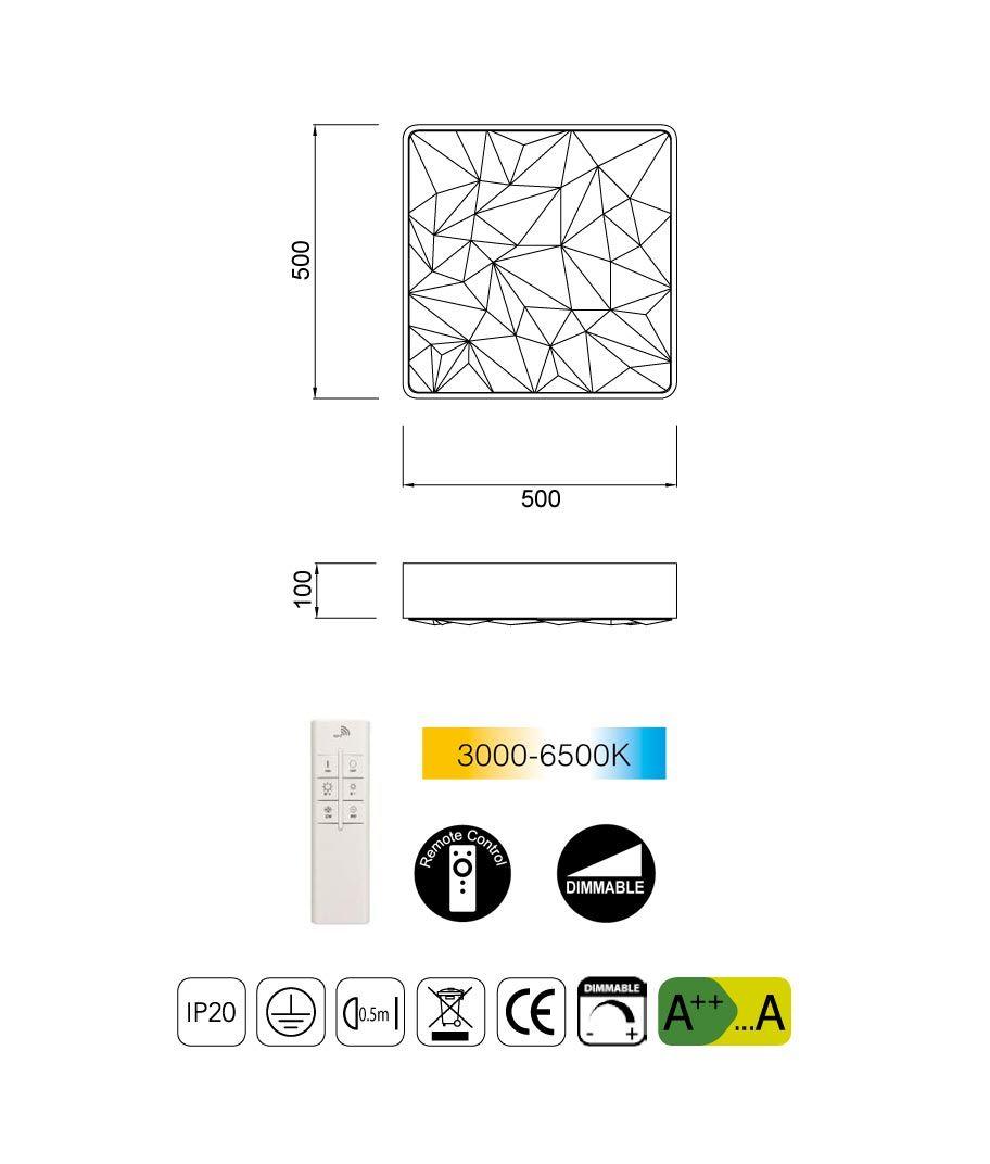 Medidas plafón dimmable con mando ROMBOS LED