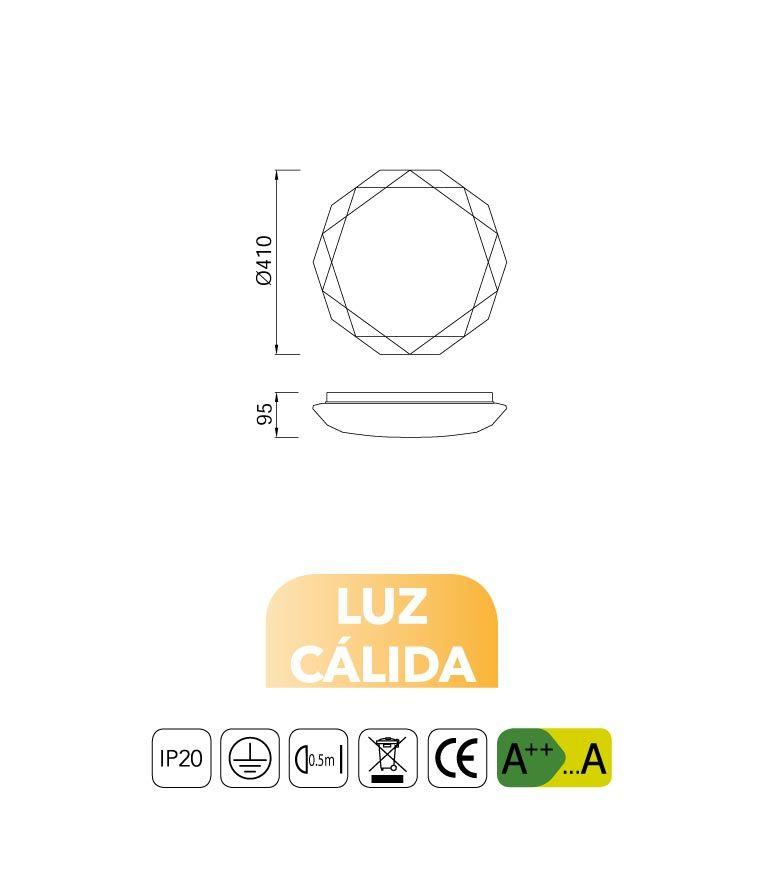 Medidas plafón LED 36W luz cálida DIAMANTE II