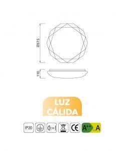 Medidas plafón LED 54W luz cálida DIAMANTE II
