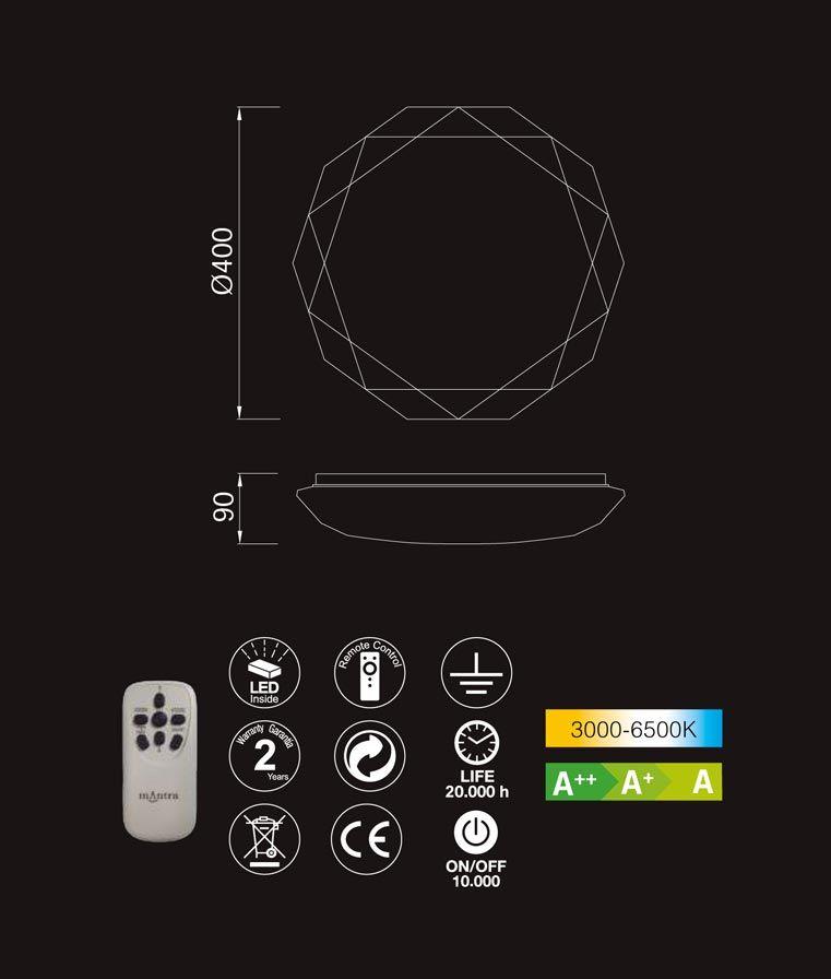 Medidas y características plafón mando distancia DIAMANTE LED