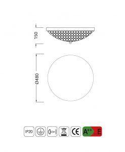 Medidas plafón mediano 6 luces CRYSTAL BALLS