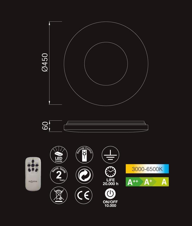 Medidas y características plafón mediano luz dimmable REEF LED