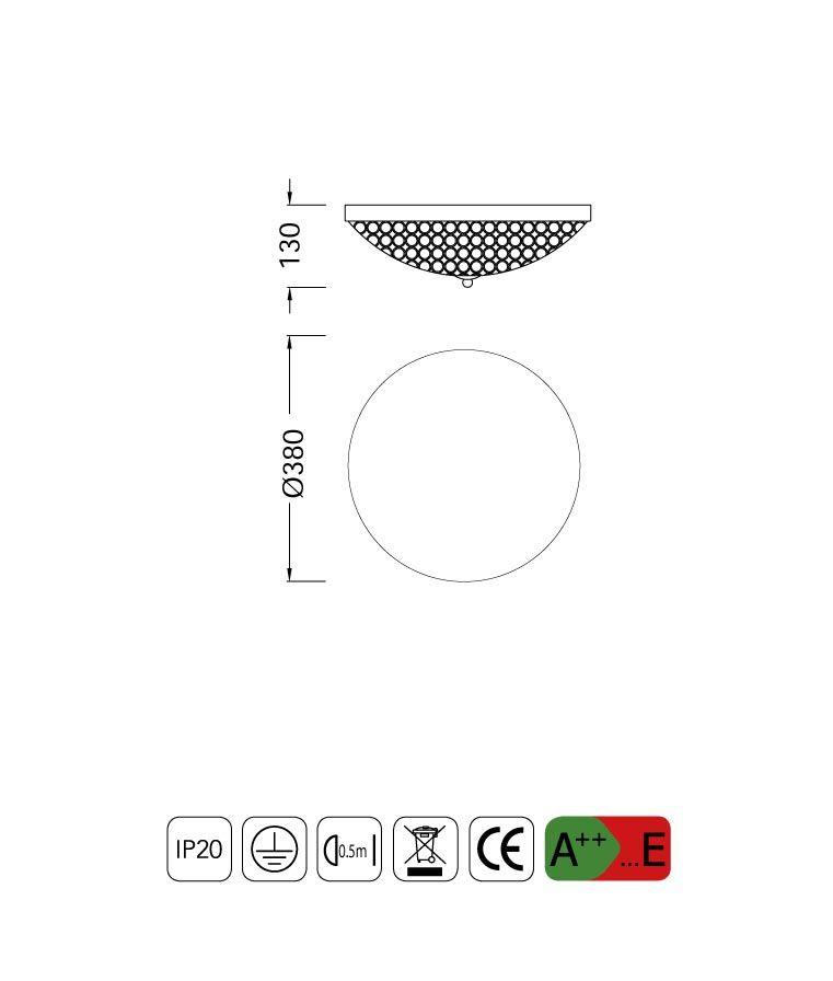 Medidas plafón pequeño 4 luces CRYSTAL BALLS