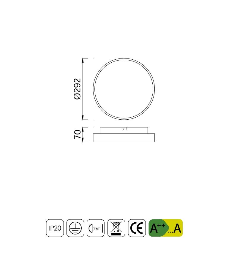 Medidas plafón redondo 18W REFLEX LED