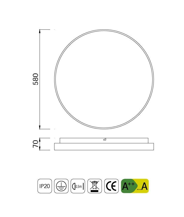 Medidas plafón redondo grande 55W REFLEX LED