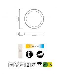 Medidas plafón redondo mediano con mando MALE LED