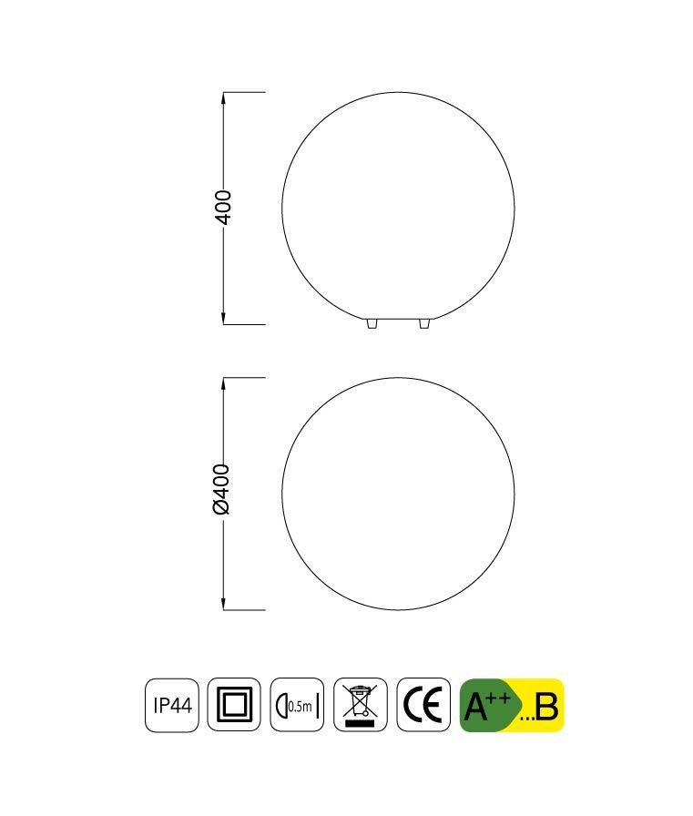 Medidas sobremesa exterior mediana IP44 OUTDOOR