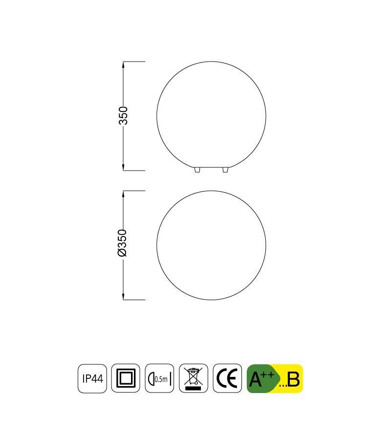 Medidas sobremesa exterior pequeña IP44 OUTDOOR